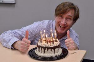 Phil's birthday with cake